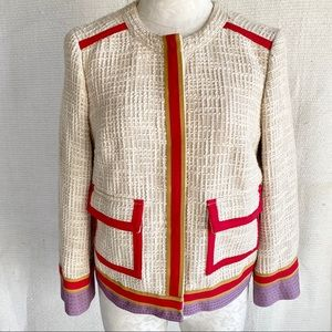 Tory Burch Chanel-Style Runway Tweed Piped Jacket